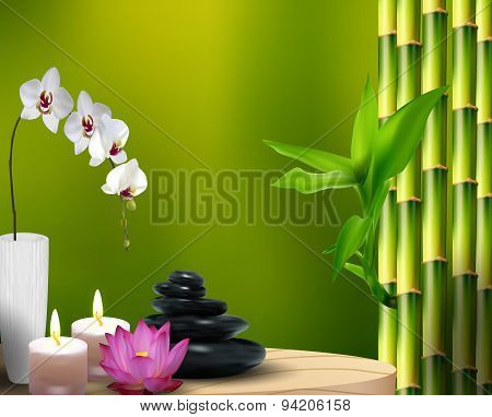 Bamboo, flower, stone, wax on the table