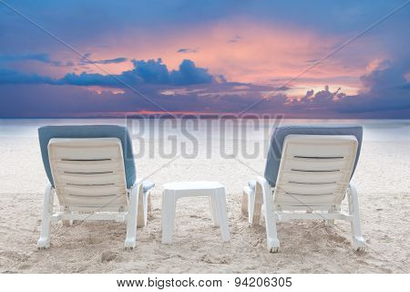 Couples Of Beach Chairs On White Sand Beach In Destination Sea Side