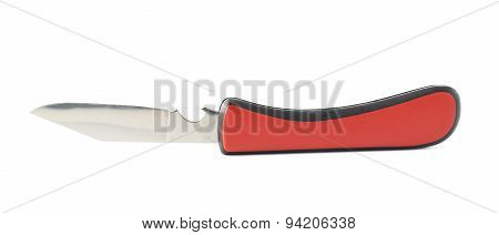 Red jackknife foldable pocket knife isolated