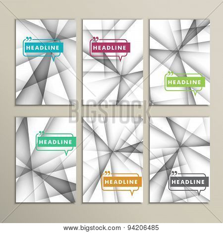 Vector set of brochures. Abstract line background