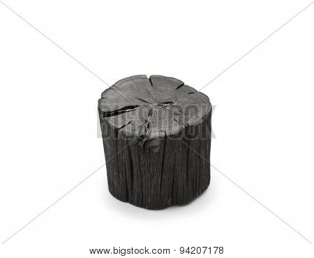 Hardwood charcoal Isolated on white. Kishu binchotan, japanese traditional white charcoal or hard wood charcoal, isolated on white background.