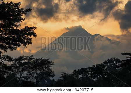 Mountain Sumbing volcano, Java, Indonesia. Sunset view with clouds.