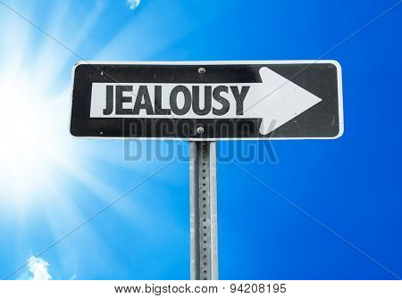 Jealousy direction sign with a beautiful day
