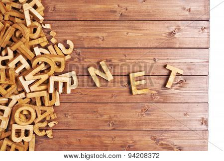 Word net made with wooden letters