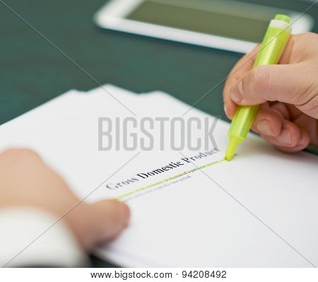 Marking words in a GDP definition