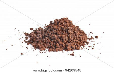 Pile of the brown ground soil isolated
