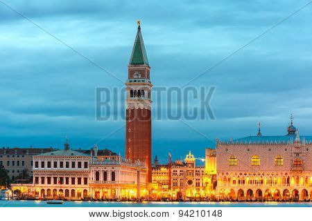 St Marks Campanile and Doge Palace, night, Venice