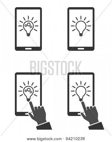 concept smartphone with lightbulb icon