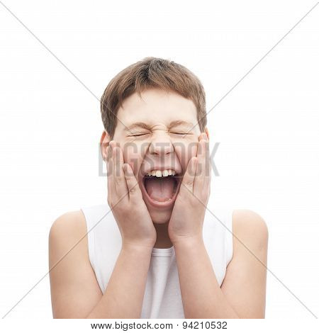 Screaming young boy in a sleeveless shirt