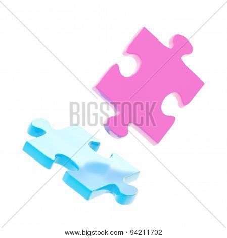 Two puzzle pieces composition