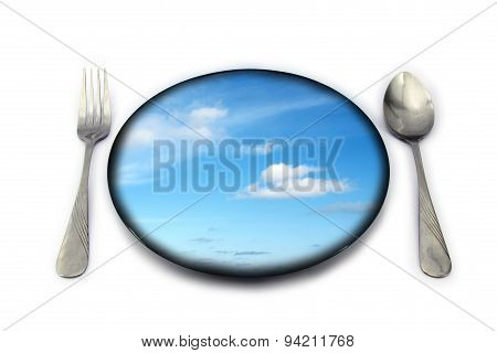 Cloud And Blue Sky On Black Dish Ready To Serve For Breakfast Lunch Dinner