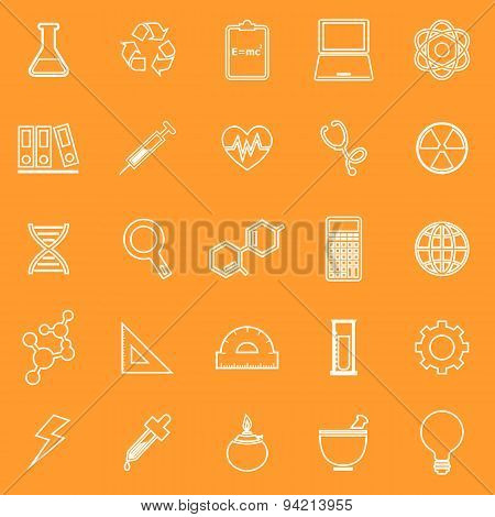 Science Line Icons On Orange Background