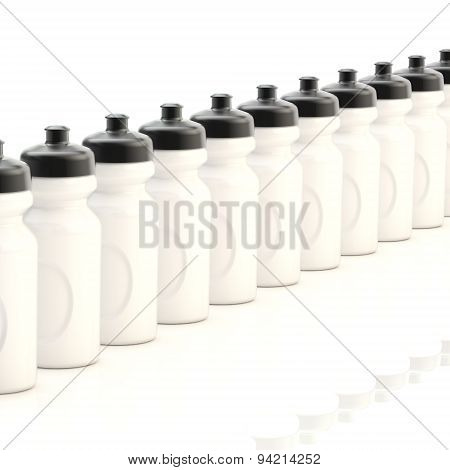 Line of plastic drinking bottles