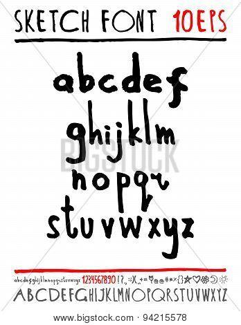 English handwriting alphabet. figures.