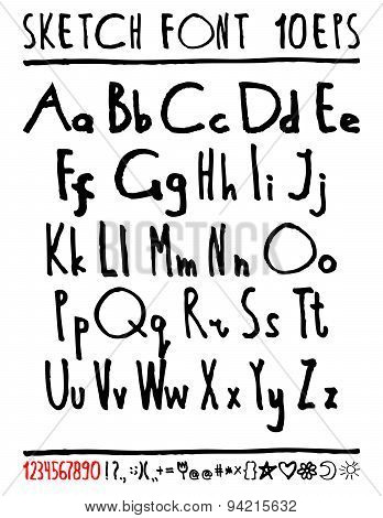 English handwriting alphabet. figures.