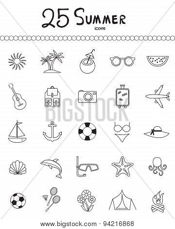Holiday and summer outline icons - vector