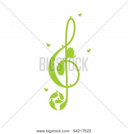 Treble Clef And Birds