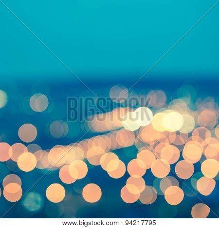 Abstract Blue Circular Bokeh Background, City Lights With Horizon, Toned Style, Closeup