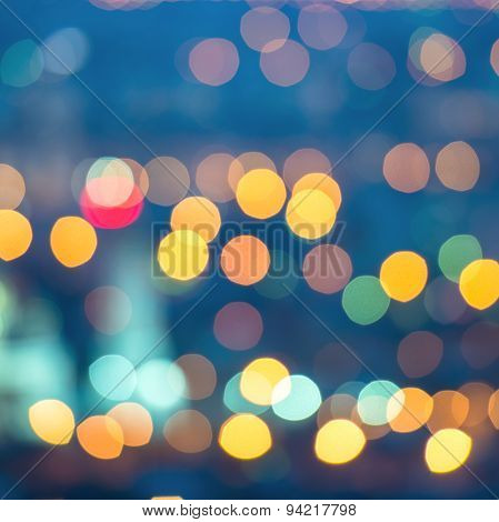 Abstract Blue Circular Bokeh Background, City Lights, Instagram Toned Effect, Closeup