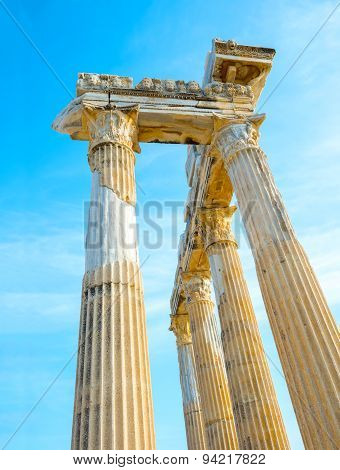 Ancient Ruins Apollo Temple Roman Empire, Side, Turkey