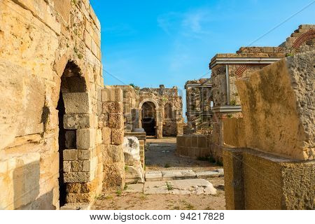 Beautiful View Of Ancient Ruins Roman Empire, Sity Side, Turkey, Archeology Background