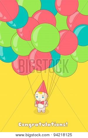 Young man holding a lot of colorful balloons