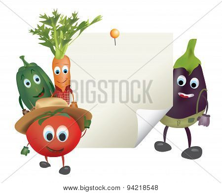 Illustration of Cartoon Vegetables