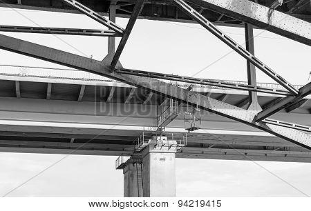 Closeup Of Metal Bridge Walkway In Black And White