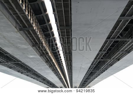 Closeup Detail Of A Metal Road Bridge