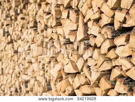 Chopped Fire Wood In A Stack