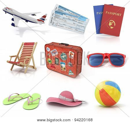 Computer Render Travel And Recreation Objects Set. Plane, Air Tickets, Passports, Sunbed, Old Suitca