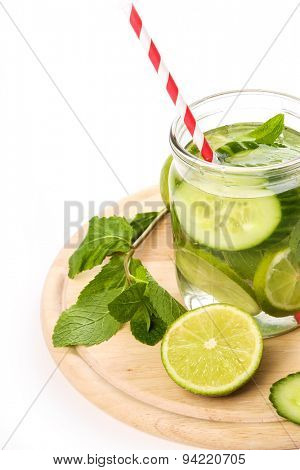 Refreshing, summer drink on the table