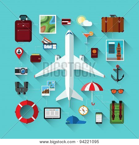 Icons set of traveling on airplane. Travel objects