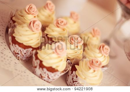 Cupcakes With Flower On Top