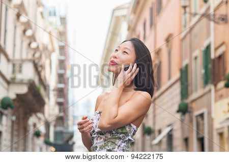 Young Beautiful Asian Woman Using Mobile Phone Urban Outdoor