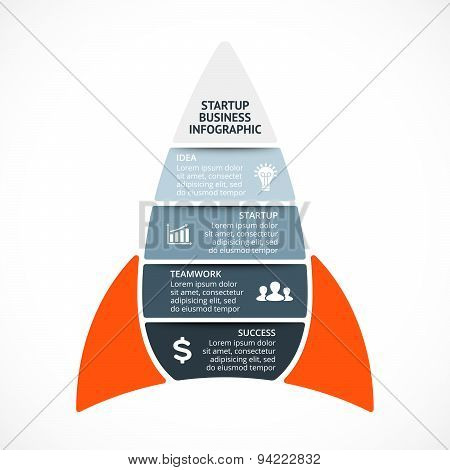 Vector spacesheep infographic. Rocket template for growth diagram, graph, presentation and progress