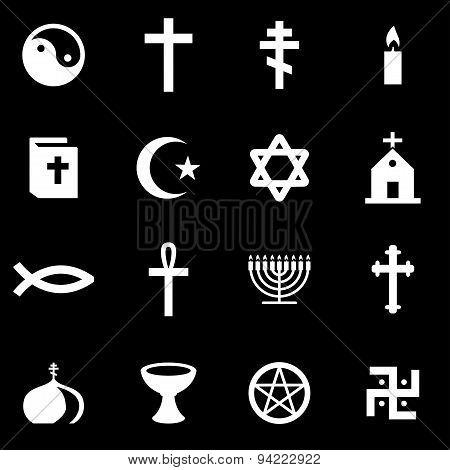 Vector white religion icon set