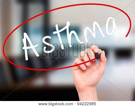 Man Hand writing Asthma with black marker on visual screen. .