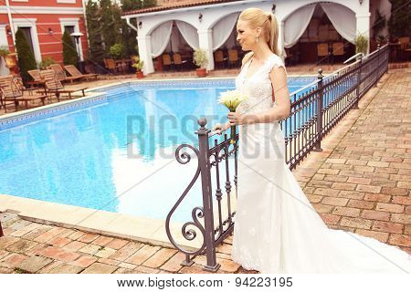 Beautiful Bride Near Pool