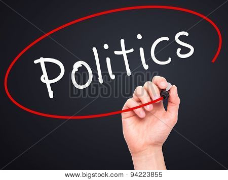 Man Hand writing Politics with black marker on visual screen.