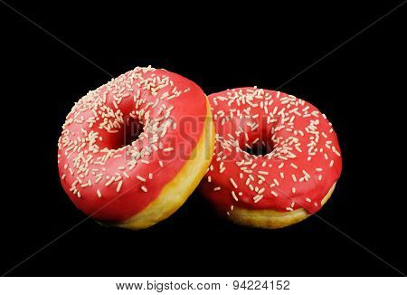 Donuts on black background