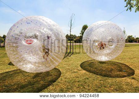Children Have Fun In The plastic Ball