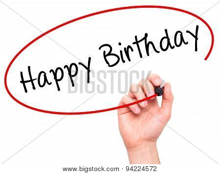 Man Hand writing Happy Birthday with black marker on visual screen