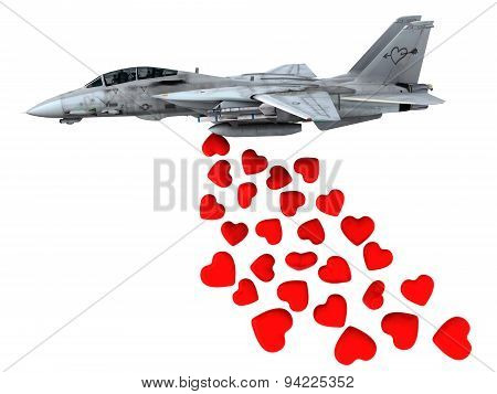 Warplane Launching Hearts Instead Of Bombs