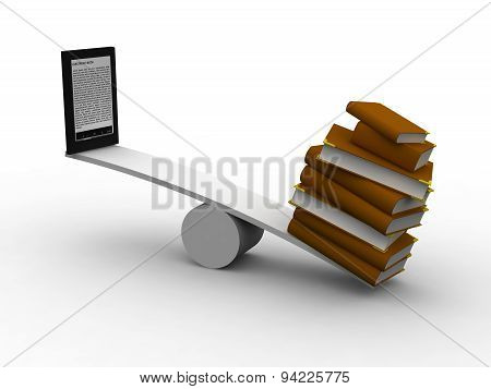 Seesaw between books and ereader