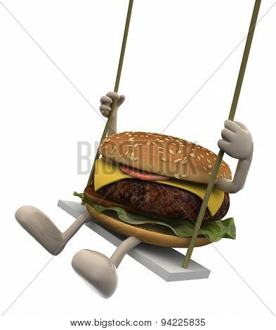 Hamburger With Arms And Legs On A Swing
