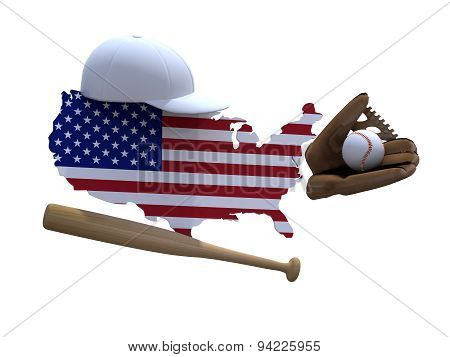 American Map With Flag, Baseball Tools