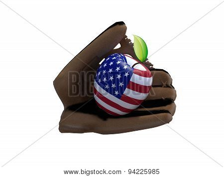 Baseball Glove And Apple