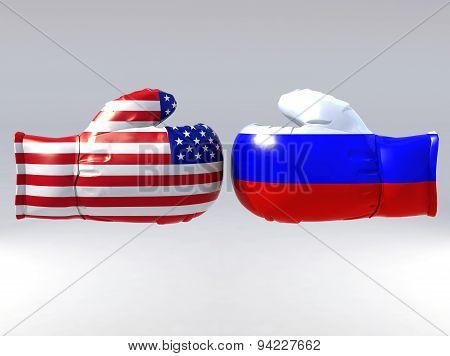 Boxing Gloves With Usa And Russia Flag