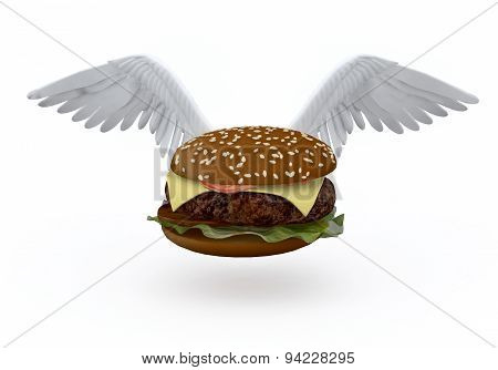 Hamburger With Bird Wings That Flying